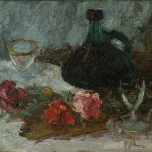 Green Bottle and Roses